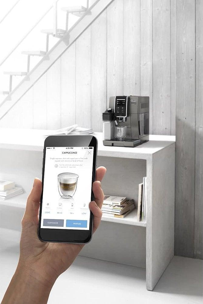 smartphone et expresso broyeur delonghi dinamica plus